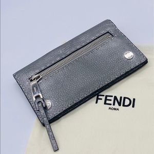 Fendi Flat Selleria Fold-Over Silver Clutch/Wallet